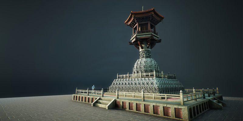 Mô phỏng xây dựng cột đá chùa Dạm bằng công nghệ 3D